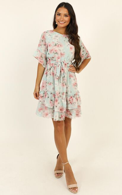 Self Loving Ruffle Dress In Mint Floral - 16 (XXL), Green, hi-res image number null