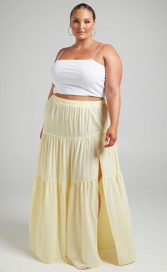 Kasiani Asymmetric Tiered Maxi Skirt in Cream