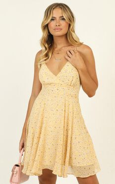 Busy Day Dress In Yellow Floral