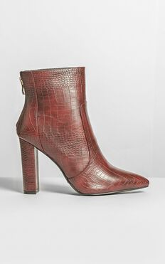 Billini - Kourt Boots In Burgundy Croc