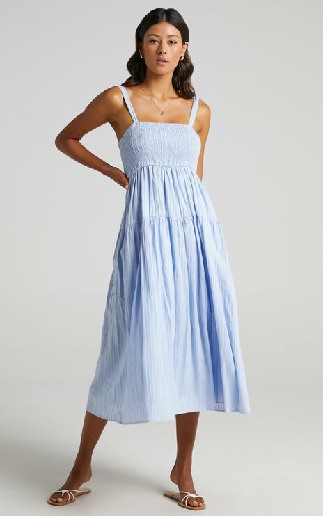 Carie Midi Dress In Blue