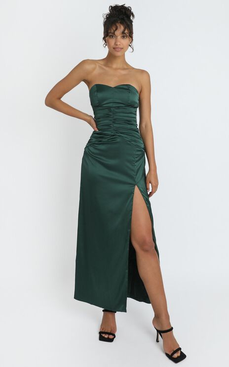 Dominque Ruched Waist Maxi Dress in Emerald Satin