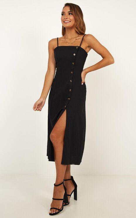 Rain On Me Dress In Black Linen Look