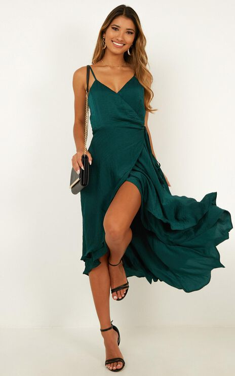 Between Fantasy Dress In Emerald Satin