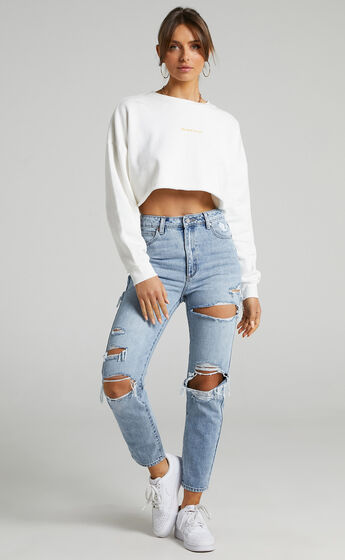 Abrand - A Cropped Oversized Sweater in White Sand