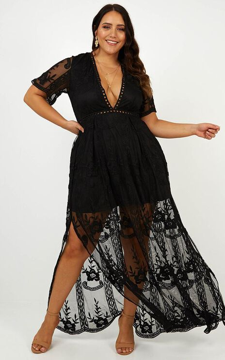 Love Spell Maxi Dress In Black Lace