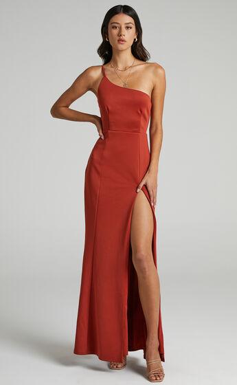 No Ones Fault One Shoulder Maxi Dress in Rust