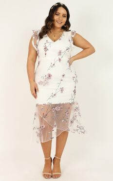 Remember The Days Dress In White Embroidery