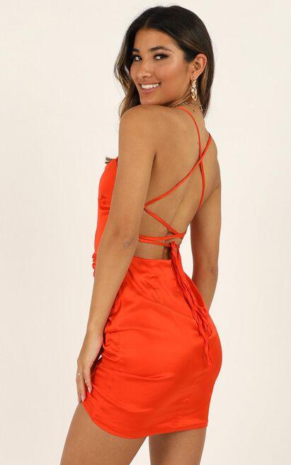 Look Like This Dress in tangerine satin - 14 (XL), Orange, hi-res image number null