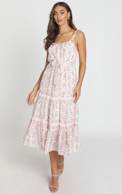 Dahlia Midi Dress in white floral - 6 (XS), White, hi-res image number null