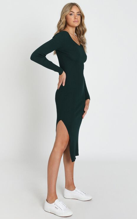 Living For It Knit Dress In Emerald