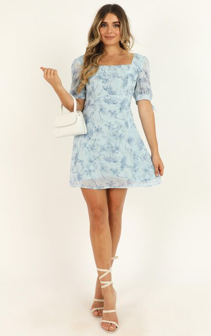 Feels Like Paradise Dress in blue floral - 20 (XXXXL), Blue, hi-res image number null