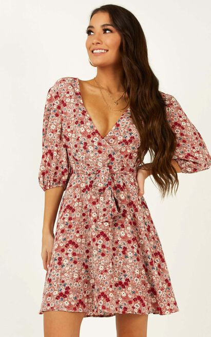 Ready For Change Dress in dusty rose floral - 20 (XXXXL), Pink, hi-res image number null