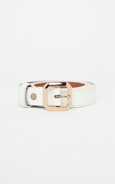 Claire Belt in White and Gold