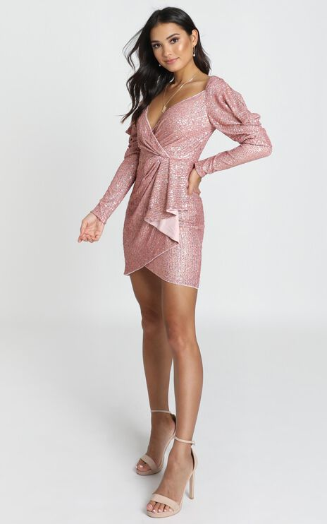 Lucie Dress In Rose Gold Sequin