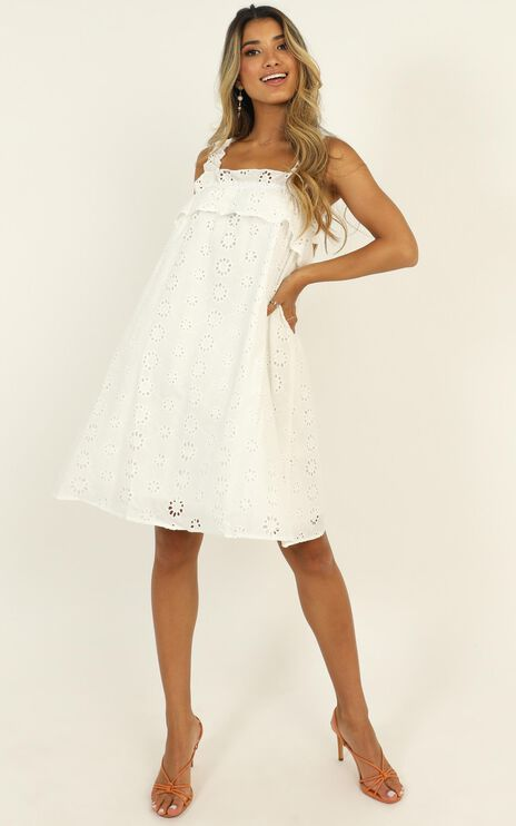 Next Summer Broderie Anglaise Dress in White