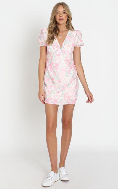 Parisian Dreams Short Sleeve Mini Dress in pink floral - 6 (XS), Pink, hi-res image number null
