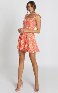 Austin Dress In Red Floral
