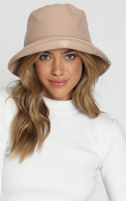 Fashion Empire Vegan Leather Bucket Hat In Beige, Beige, hi-res image number null