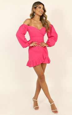 Cant Move On Dress In Hot Pink Linen Look