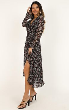 Can I Call You Dress In Black Floral