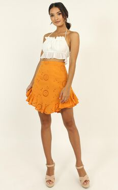 All Day Ruffle Mini Skirt In Tangerine Embroidery