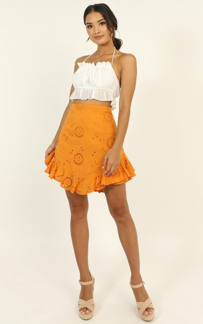 All Day Ruffle Mini Skirt in tangerine embroidery - 12 (L), Orange, hi-res image number null