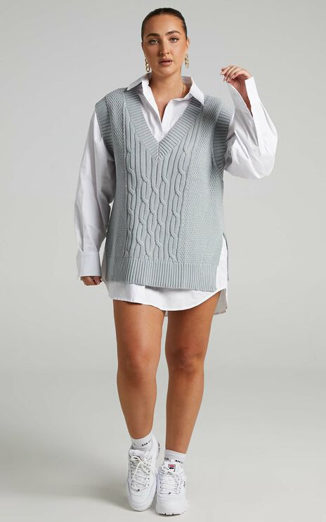 Cadha Knit Vest in Grey