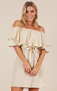 So Divine Dress In Beige Linen Look