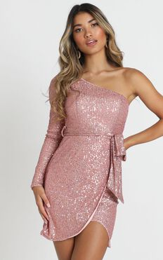 Louie One Shoulder Dress In Blush Sequin