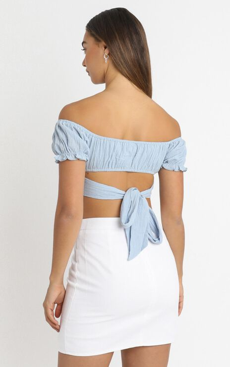I Know You Top in Sky Blue Linen Look