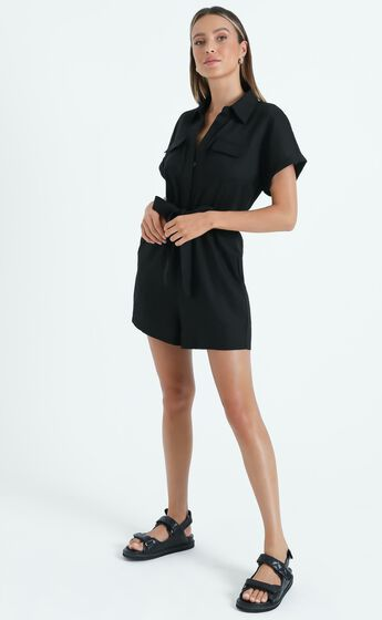Zarina Belted Playsuit in Black