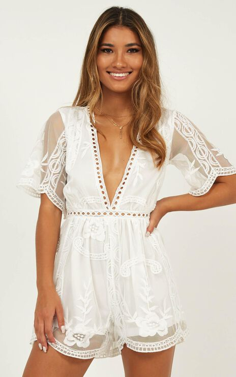 Face The Love Playsuit In White Lace