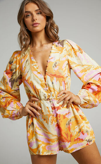 Shari Blouson Linen Blend Playsuit in Abstract Palm