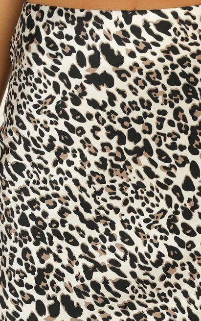 I Have A Crush skirt in leopard print satin - 16 (XXL), Brown, hi-res image number null