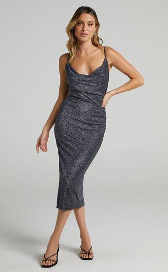 Amaliee Cowl Front Midi Dress in Black Lurex