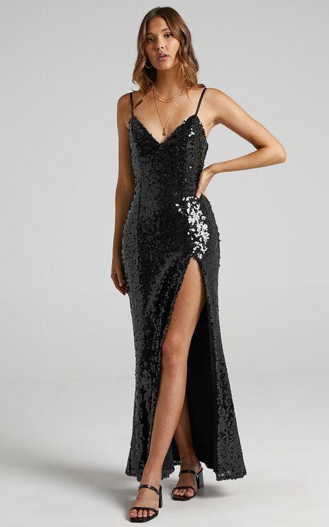 Mikela Dress in Black Sequin