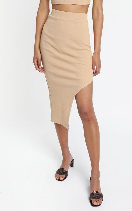 Letina Midi Skirt in Beige Rib