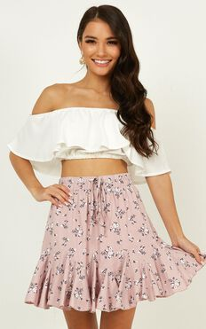 Pass The Message On Skirt  In Blush Floral