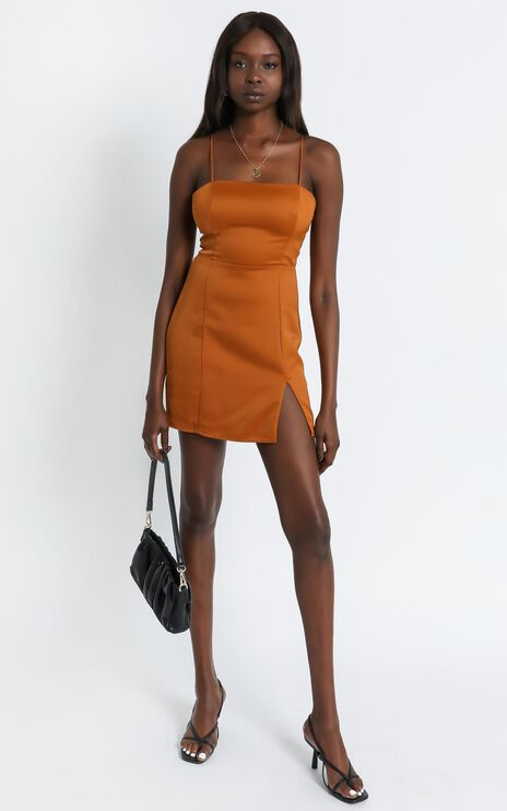 My Love Is Yours Dress in Copper Satin