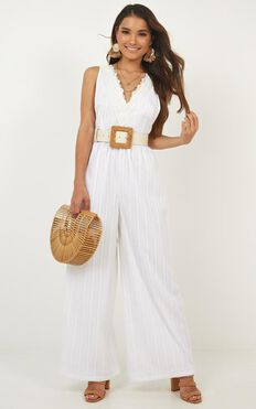 Tell Me So Jumpsuit In White