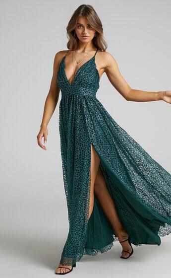 Lady Godiva Dress in Emerald Glitter Tulle
