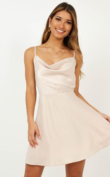 Lifes A Party Dress In Blush Satin