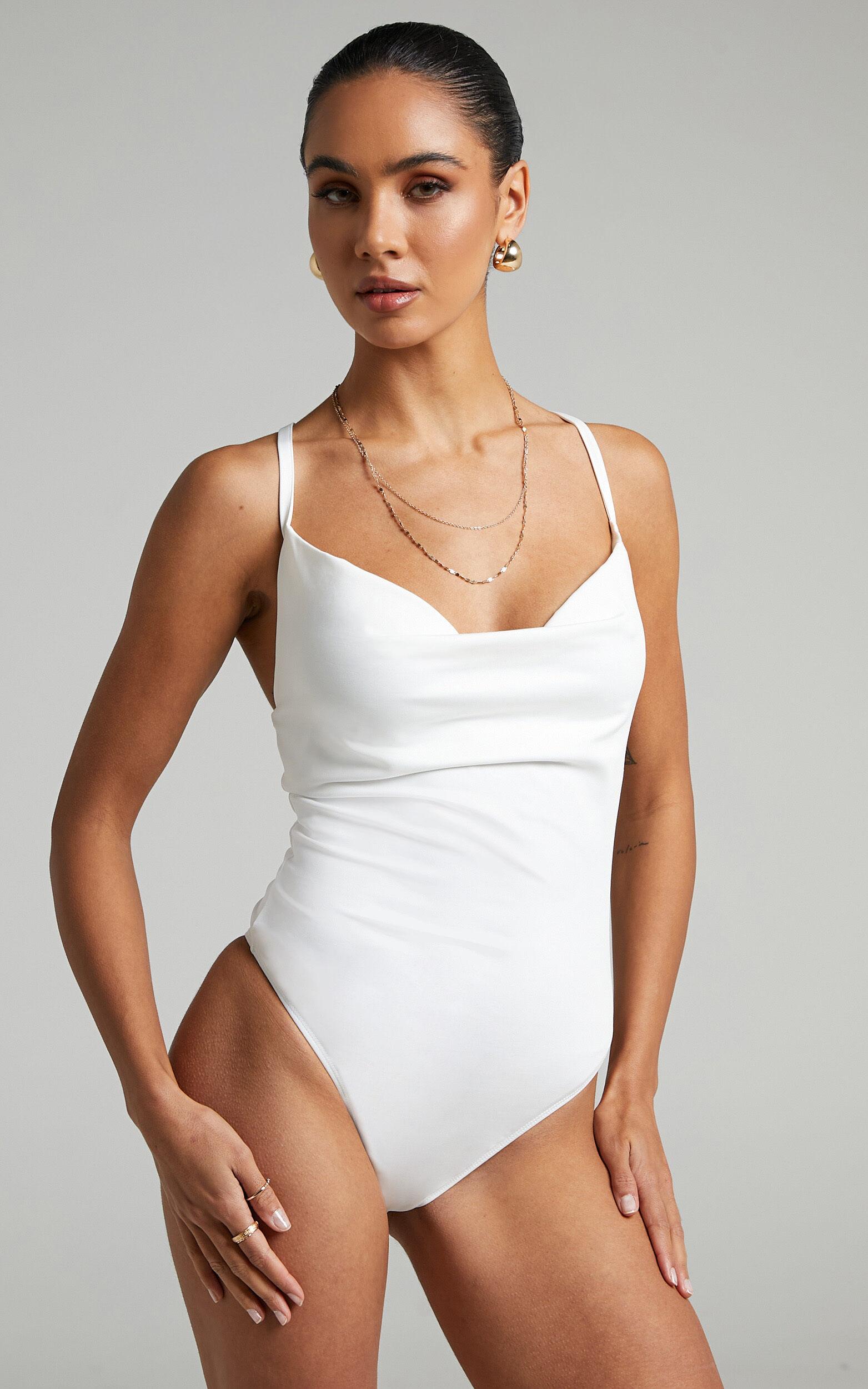 Emrie Cowl Neck Bodysuit in White - 06, WHT3, super-hi-res image number null
