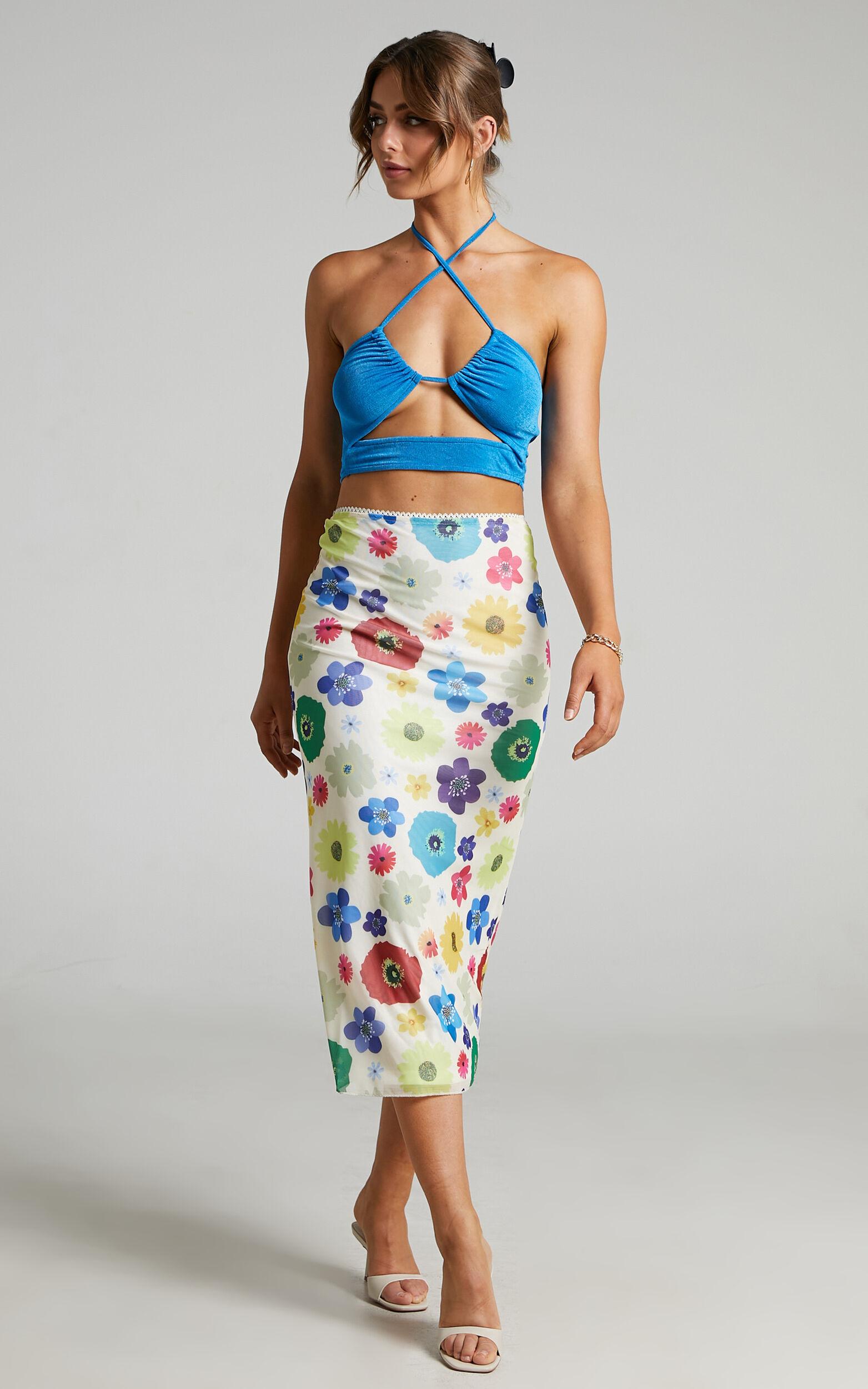 Silvi Mesh Midi Skirt in White Floral - 04, WHT2, super-hi-res image number null