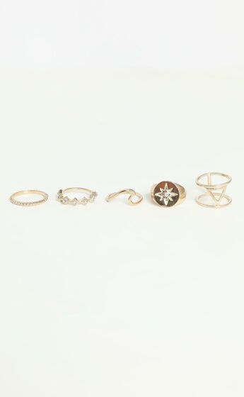 Moods and Waves Multi Ring Set in Gold