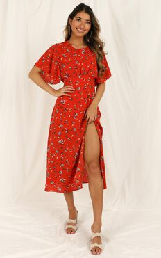Sweeter Than Sugar Dress In Red Floral