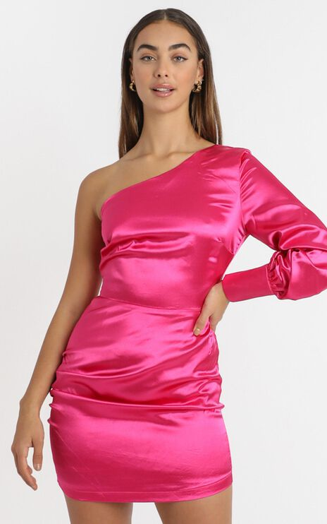 Eve One Shoulder Mini Dress in Hot Pink Satin