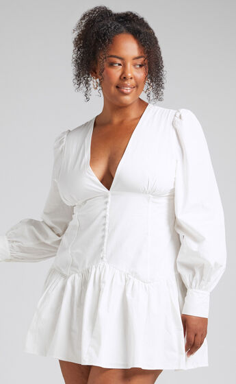Carlyle Long Sleeve Mini Dress with Corset Detailing in White