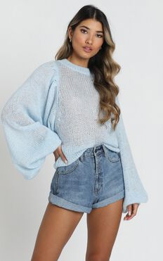 Correcting You Jumper In Pale Blue